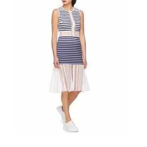 Marine Stripe Sleeveless Dress with Lace Details